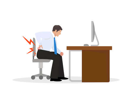 Businessman Suffering from Backache. Businessman at Work. Illustration Stock Illustratie