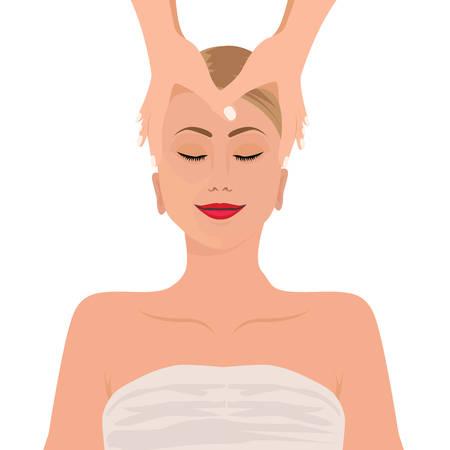 human face: Beautiful hand drawn illustration spa salon. Spa woman waiting spa massage her face.