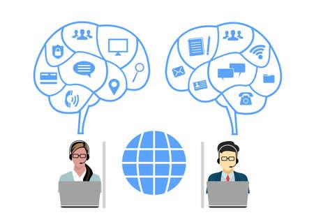 Operadores de centro de llamadas, hombre Mujer Atención al cliente Personas Grupo Chat Burbuja Comunicación por Internet Ilustración de línea delgada