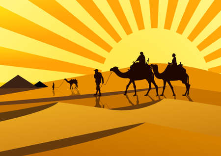 hot couple: silhouettes of camels at sunset.