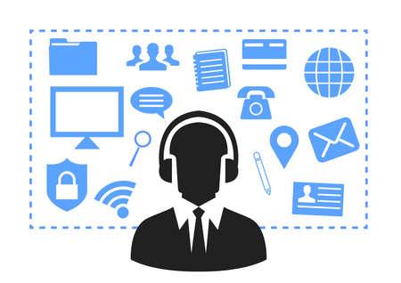 Operadores de centros de llamadas, hombre Atención al cliente Gente Grupo Chat Burbuja Comunicación por Internet Ilustración de línea delgada