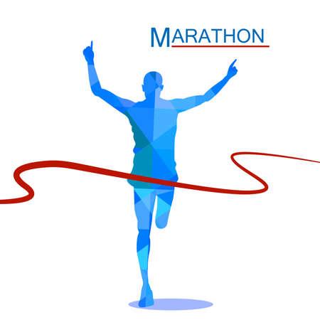 Marathon the winner,polygonal blue background