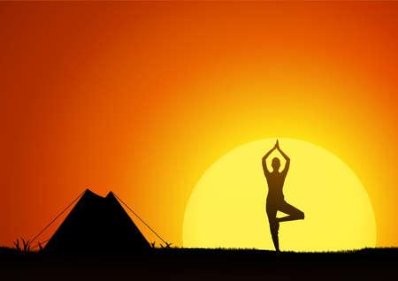 spring balance: Woman practicing yoga at outdoor