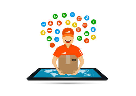 concept of tablet marketing, delivery and online shopping Illustration