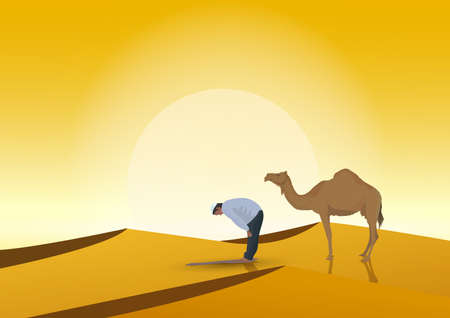 man praying and camel with sunset background Illustration