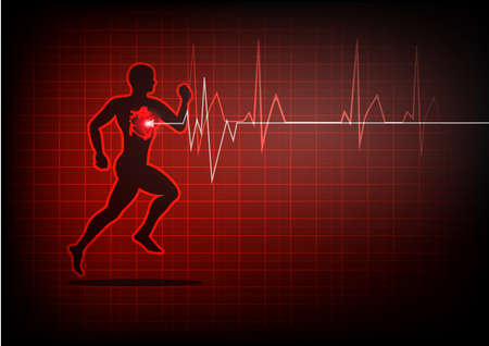 heartbeat electrocardiogram and running man Stock Vector - 79019487