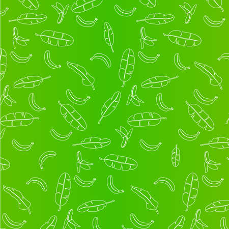 banana and banana leaves pattern on green background illustration