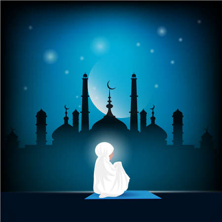 Traditionally clothed muslim woman making a supplication (salah) while sit down on a praying with icon. illustration. Illustration