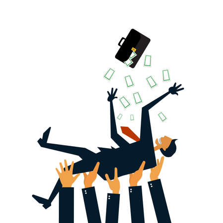 éxtasis: Successful businessman being thowing up by his teamwork or colleague Feeling and emotion concept in success and team work Vectores