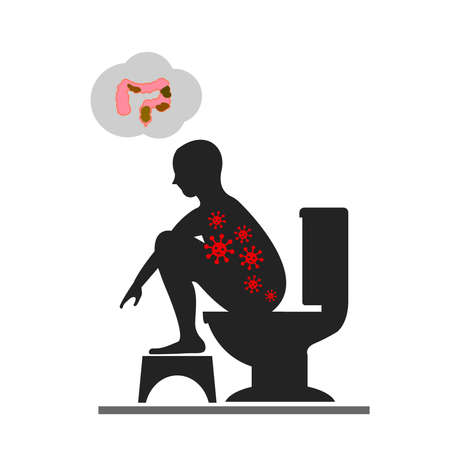 stool blood: Silhouettes man sitting on a toilet concept. Illustration