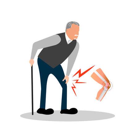 그의 무릎에 노인 고통