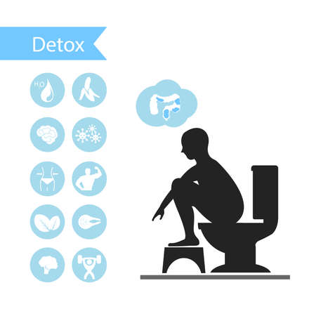 stool blood: Silhouettes man sitting on a toilet with detox icons.