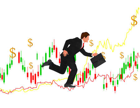 Businessman Arrow Up. Businessman with briefcase running up the growth curve parameters.