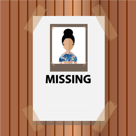 Wanted woman paper poster. Missing announce on wood wall. illustration in flat style