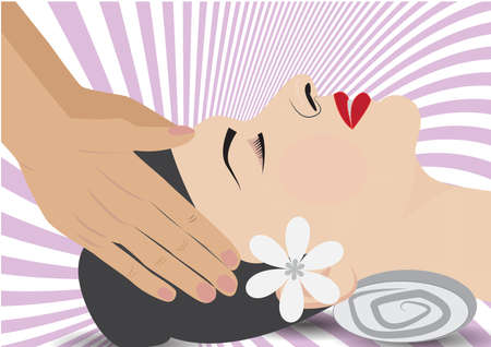 headed woman with  having head massage in spa.
