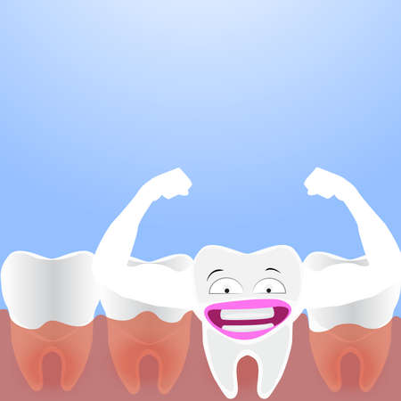 vector cartoon whitening tooth muscle strain for show solidity tooth with shining effect and the happy face. Illustration