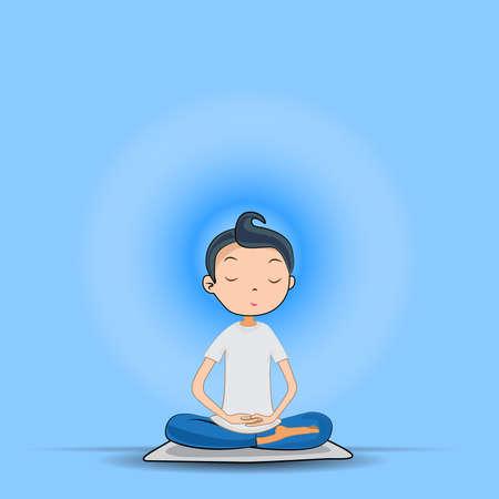 donna che medita, seduta nella posa del loto. concetto. Illustrazione vettoriale. Vettoriali