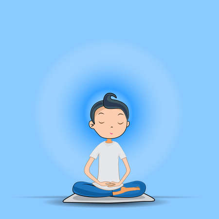 woman meditating, sitting in lotus pose. concept. Vector illustration. Vektoros illusztráció