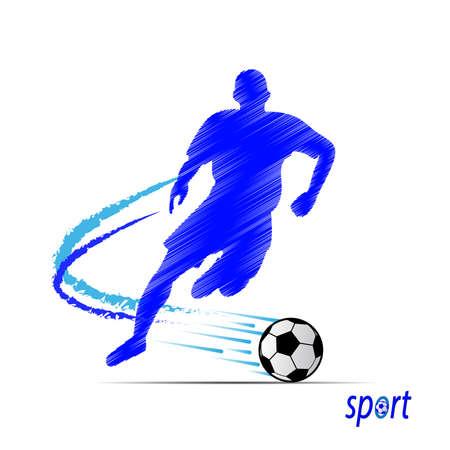 running: Soccer, football players silhouettes. Illustration Illustration