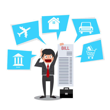 Business man get the long bill ,home,car, credit card. Illustration