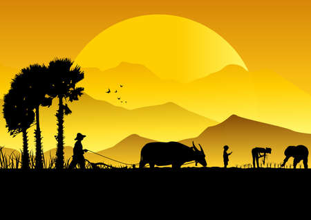 Silhouette di agricoltori asiatici rimescolando campo di riso. Archivio Fotografico - 82099240