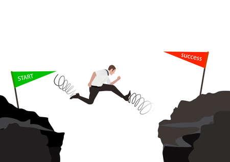 Empresario saltando a través de la brecha del valle con letrero gris apuntando al inicio y al éxito aislado sobre fondo blanco.