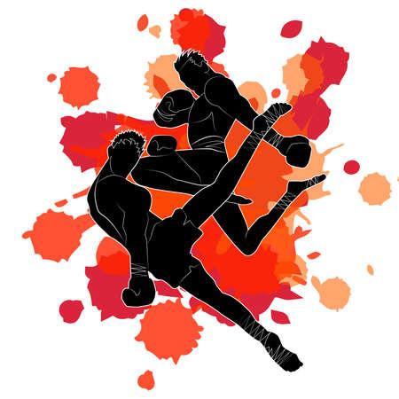 Muay Thai, Thai Boxing, designed using grunge brush on splash blood background graphic Illustration