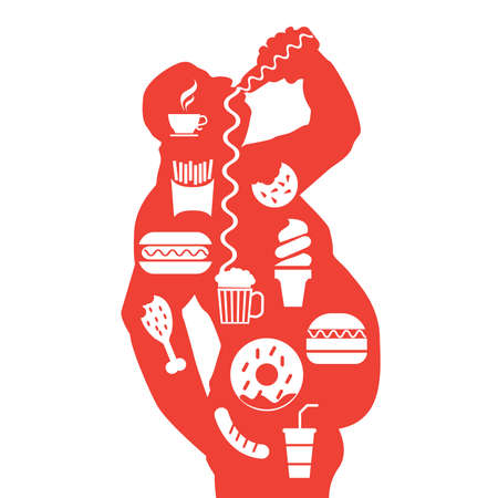 metrics: man body and junk unhealthy food in a fat obese body