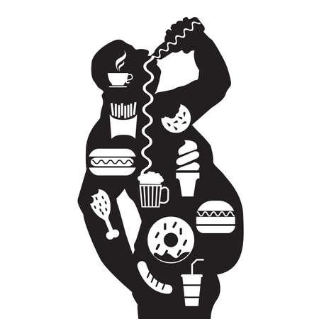 Mann Körper und Junk ungesunde Lebensmittel in einem Fett fettleibigen Körper Standard-Bild - 82099221