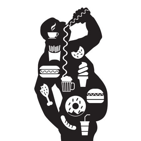 man body and junk unhealthy food in a fat obese body