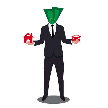 Businessman dressed in a suit agent offering house and car, on white background