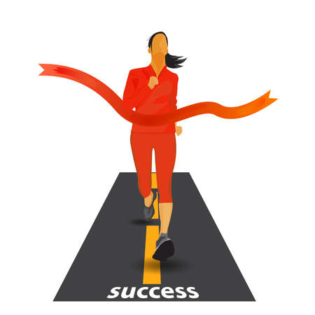 Running woman crossing finish line illustration.