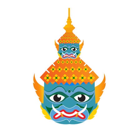 Vector Illustration : Ravana (Tos-Sa-Kan) mask Thailand style Guardian Giant color original
