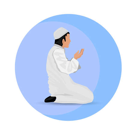 Young muslim man praying,icon Vektorové ilustrace