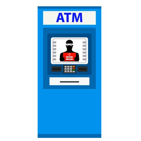 Thief. Hacker stealing sensitive data from ATM machine.