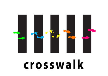 Crosswalk with black and white stripes illustration with color footprint .