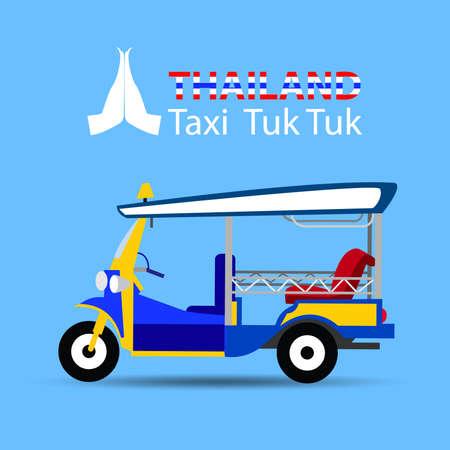 タイのトゥクトゥクの説明: タイ タクシー トゥクトゥクや 3 つのトゥクトゥクの車輪またはトゥクトゥク、カラフルなイラストと呼ばれる