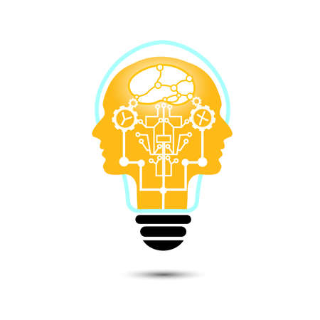 Human head / light bulb with mechanical parts inside. vector Illustration