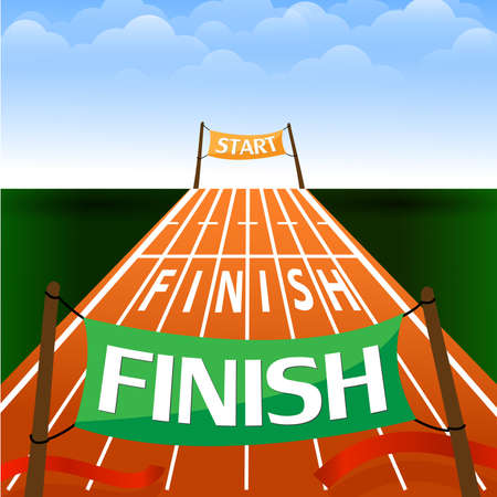 Start of a running track with number and line for success. Vector illustration. Ilustracja
