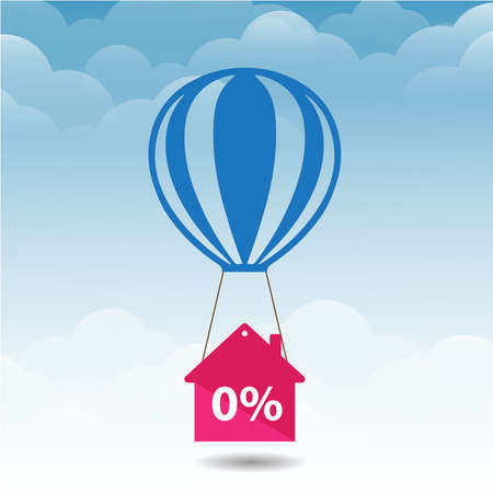 pink house icon is flying on blue balloon with percent sign over little white balloons Ilustrace