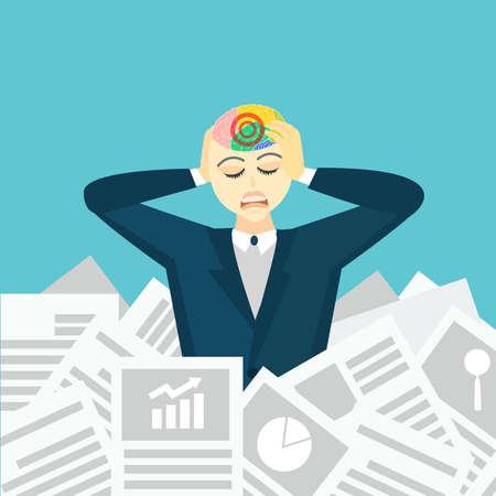 Women are stressed with work with a lot of paper work