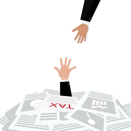 Persons hand sticking out of a pile of tax forms, word help on the background,illustration