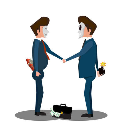 Two businessman hand shaking while holding dynamite behind his back. - Illustration