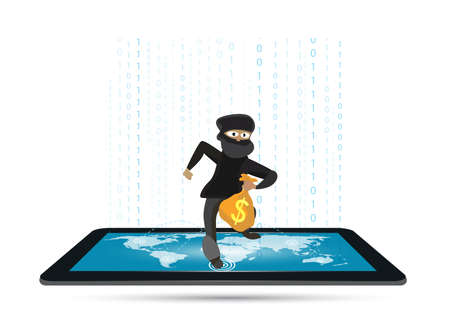 Thief carrying bag of money with a dollar sign on tablet