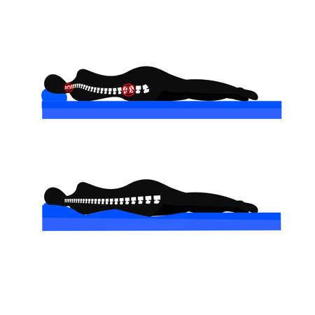 Meilleures et mauvaises positions pour les femmes enceintes endormies, illustration Vecteurs