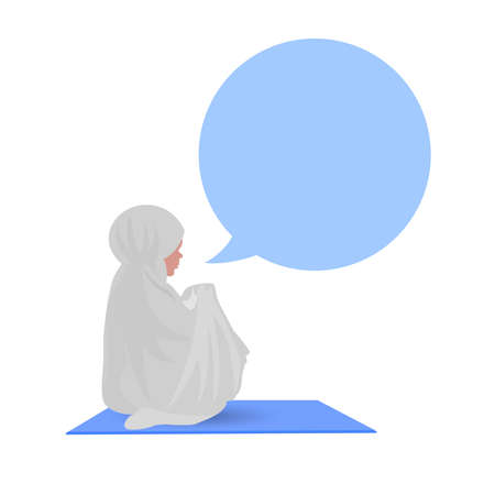 middle: Traditionally clothed muslim woman making a supplication (salah) while sit down on a prayer mat on a praying position, an illustration. Illustration