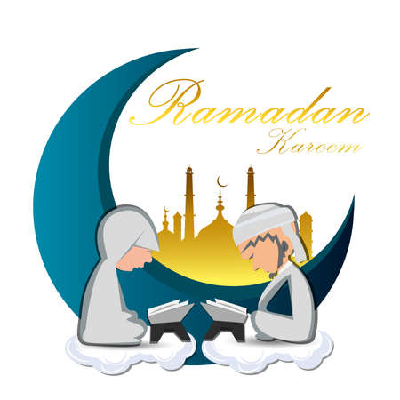 Illustration of Muslim Man And woman Reading the Quran on Ramadan Illustration