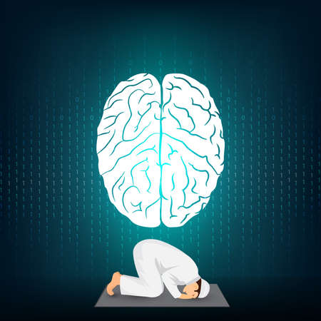Prayer and brain on blue background Illustration