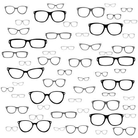 Set of custom glasses isolated. illustration on white background. Glasses model icons Ilustração