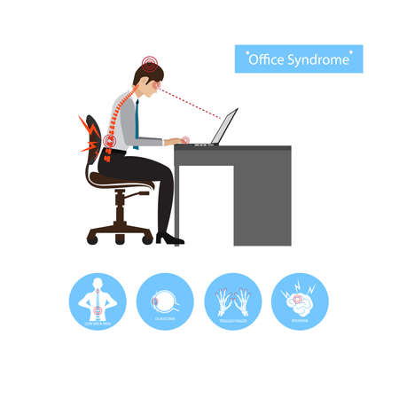 Office syndrome illustration. Stock Vector - 83863264